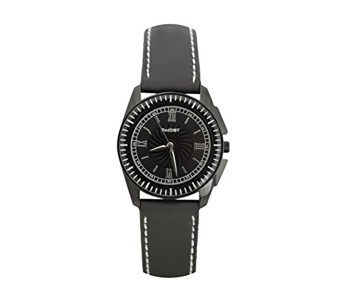 RED DOT BLACK LEATHER ANALOG WATCH FOR MEN(RD-AQ)
