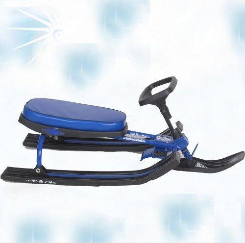 Extrem schneller und leichter Lenkschlitten mit extra breitem Sitz und Kufen Bob Lenk Kinder Schlitten Rodel blau