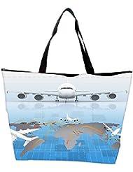 Snoogg Airplane Around The World Waterproof Bag Made Of High Strength Nylon