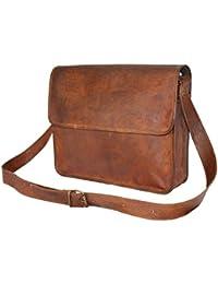LEATHER WORLD LTD. Vintage Style Real Goat Leather Messenger Bag With Adjustable Padded Strap