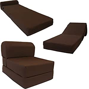 "Amazon 6"" Thick X 36"" Wide X 70"" Long Twin Size Brown Sleeper Chair Folding Foam Bed 1 8lbs"
