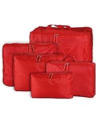 EZ Life Multipurpose Bags-in-Bag Travel Organizer - Red - Set Of 5- Nylon