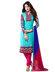 Shonaya SkyBlue Colour Cotton Embroidery Semi Stitched Salwar Suit