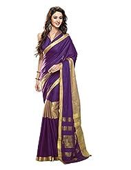 Roop Kashish Cotton Saree With Zari Border Saree(Miraya_Purple And Gold)