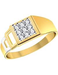 Vihdi Jewels Gold Plated Unique Pattern Diamond Studded Brass Finger Ring For Men [VFR350G]