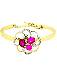 Peach & Glory Gold Plated Pink Crystals American Diamond Stylish Bracelet For Girls & Women (757)
