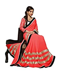 Dancing Girl Red Georgette Party Wear Saree With Blouse