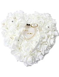 QTMY Heart Rose Wedding Ring Box Ring Pillow Wedding Favors By QTMY