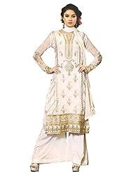 Namrah Collection Women's Georgette Straight Salwar Suit (2603, Cream)