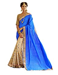 Status Blue & Cream Color Saree On Bhaglpuri Silk Fabric.