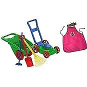 Kids Or Toddler Pretend Play Toys Lawn Mower,Garden Cart/Wheelbarrow,Hoe,Rack And Shovel Outdoor/Indoor Plastic... - B018NE8ZYC
