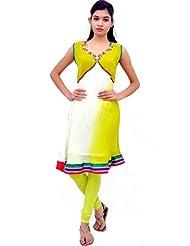 Charu Boutique Women's Pure Georgette Kurti (White Green)
