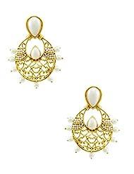 The Art Jewellery Rajwadi Ethnic Emerald Pearl Drop Earrings For Women