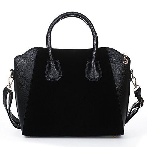 FACILLA® Sac à Main Sacoche Bandoulière Epaule Croisé PU Noir Femme Shopping OL 38x12x29cm