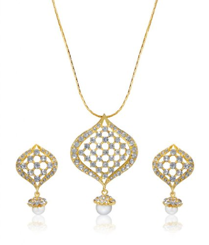 Eclat Rhodium Brass Alloy Pendant Set For Women(1112209G)