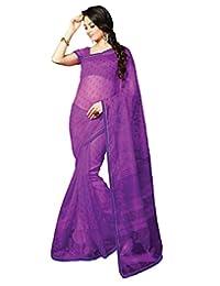 IndiWeaves Women Super Net Printed Purple Saree