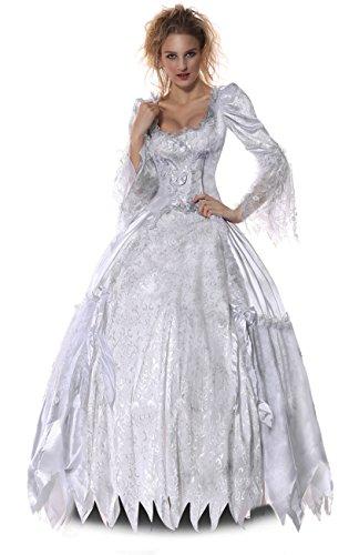 Halloween 2017 Disney Costumes Plus Size & Standard Women's Costume Characters - Women's Costume Characters Women's Plus Size White Queen Halloween Costume Alice in Wonderland Role Play Deluxe Dress White/Grey