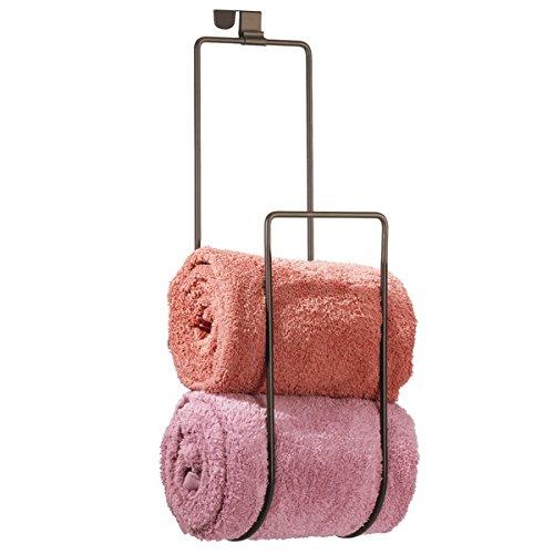 mDesign Over the Door Towel Holder for Bathroom Shower Door - Bronze