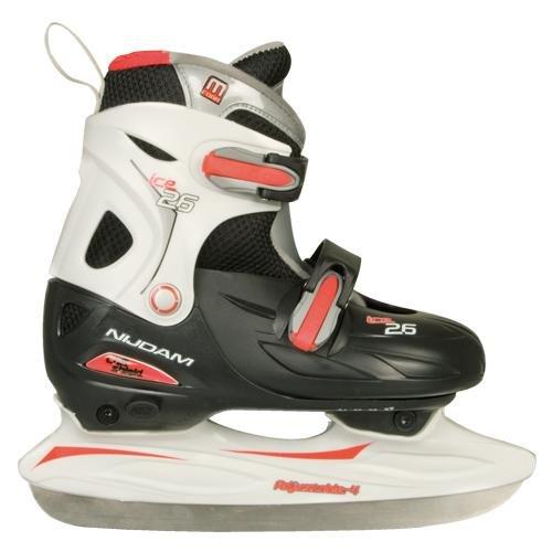De Li Eishockey Schlittschuhe Kinder größenverstellbar (34 - 37||schwarz rot)