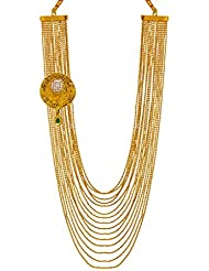 Bindhani Traditional Trendy Green Kundan Gold Plated Multi-Strand Necklace For Women & Girls