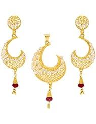 Big Tree Ethnic Brass Golden & Red Dangle & Drop Earring For Women