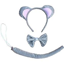 Kinzd® Fancy Mouse Halloween Costume for Children 3PCs: Ear Headband, Tie, Tail