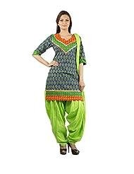 Rama Set Of Green-Orange Color Kurti With Green Color Patiala & Duppatta