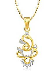 Amaal Ganesha Ganpati God Pendant With Chain For Men,Women Gold Plated In American Diamond Cz Jewellery GP0151