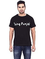 Pagal Desi BEING PUNJABI Premium Men's Cotton Round Neck Half Sleeve Black T-Shirt