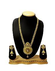 Traditional & Beautiful Round Shape Long Bridal Necklace Set With White Kundan Stone For Bridal Women Jewellery