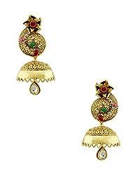 The Art Jewellery Traditional Rajwadi Jhumki Earrings For Women In Red & Green Color