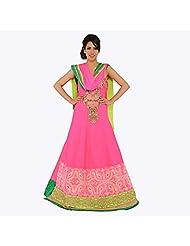 Nirali Women's Silk Salwar Kameez SemiStiched Dress Material - Free Size (Pink And Green)