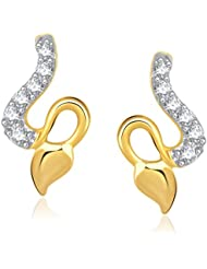 VK Jewels Delicate Gold And Rhodium Plated Stud Earrings For Women -ER1190G [VKER1190G]