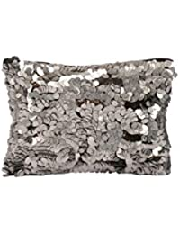 Diwaah Beautifully Handcrafted Party Cotton Silver Color Zip Top Clutch With Zip (DWH000000660)