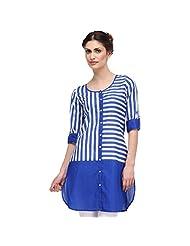 Sia Fashion Blue Solid Stripe Cut And Sew Kurta For Women - B00R2J7S7A