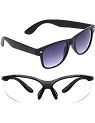 New Stylish UV Protected Combo Pack Of Sunglasses For Women / Girl ( BlackBlackWayfarer-ClearNightVision ) ( CM-SUN...