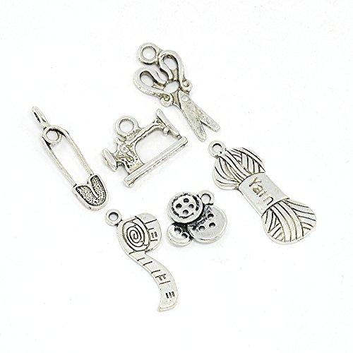 Set of DIY Sewing Knitting Themed Tibetan Style Alloy Pendants, Antique Silver, 6pcs/Set
