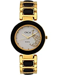 """DICE """"Venus-7306"""" Fashionable, Elegant, Contemporary, Tasteful And Attractive Watch For Women. Fitted With White Dial, Gold-Plated Stainless Steel Body"""