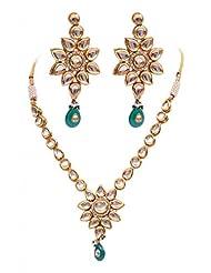 Rubera's Kundan Necklace Set With Emerald Drops