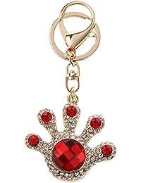 Imported Fashion Crystal Rhinestone Palm Keychain Key Ring Bag Charm Red