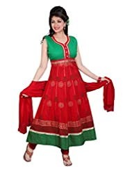 Divinee Red Cotton Readymade Anarkali Suit