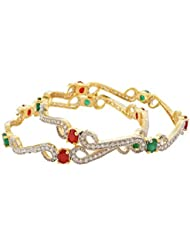 Handicraft Kottage American Diamond Gold Plated Bangle With Red & Green Stone For Women (Size: 2.6, HK-DB-052)