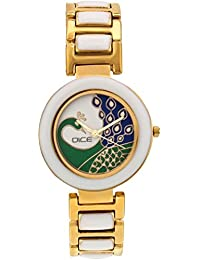 """DICE """"Venus-7356"""" Fashionable, Elegant, Contemporary, Tasteful And Attractive Watch For Women. Fitted With White Dial, Gold-Plated Stainless Steel Body."""