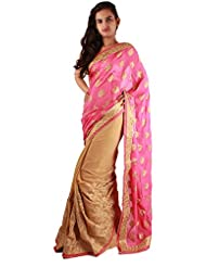 Beige Pink Party Wear Saree Embroidery Booti Stone Work Georgette Sari