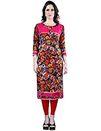 M.Tex Pink Color Round Neck And 3/4th Sleeve Rayon Kurti