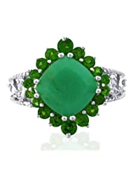 Carillon India Diamond Royal Gemstone Chrysoprase & Chrome Di Ring 925 Sterling Silver Ring