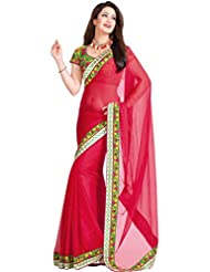 Sehgall Sarees Indian Bollywood Designer Ethnic Professional Chiffon Saree With Dhupion Blouse Piece Red