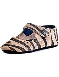 Beanz Catty Beige/Black Tiger Print Leather Pram Shoes For Girls Size 18 EU