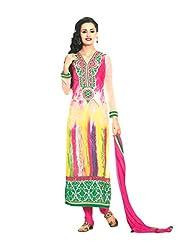 Sabrang Women Georgette Digital Printed Multi-coloured V-Neck Salwar Suit