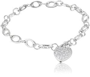 Sterling Silver Pave Simulated Diamond Heart Bracelet, 7.25